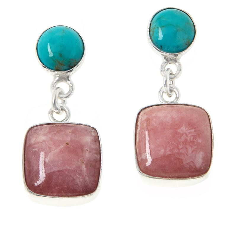 Jay King Sterling Silver Rhodochrosite and Turquoise Earrings