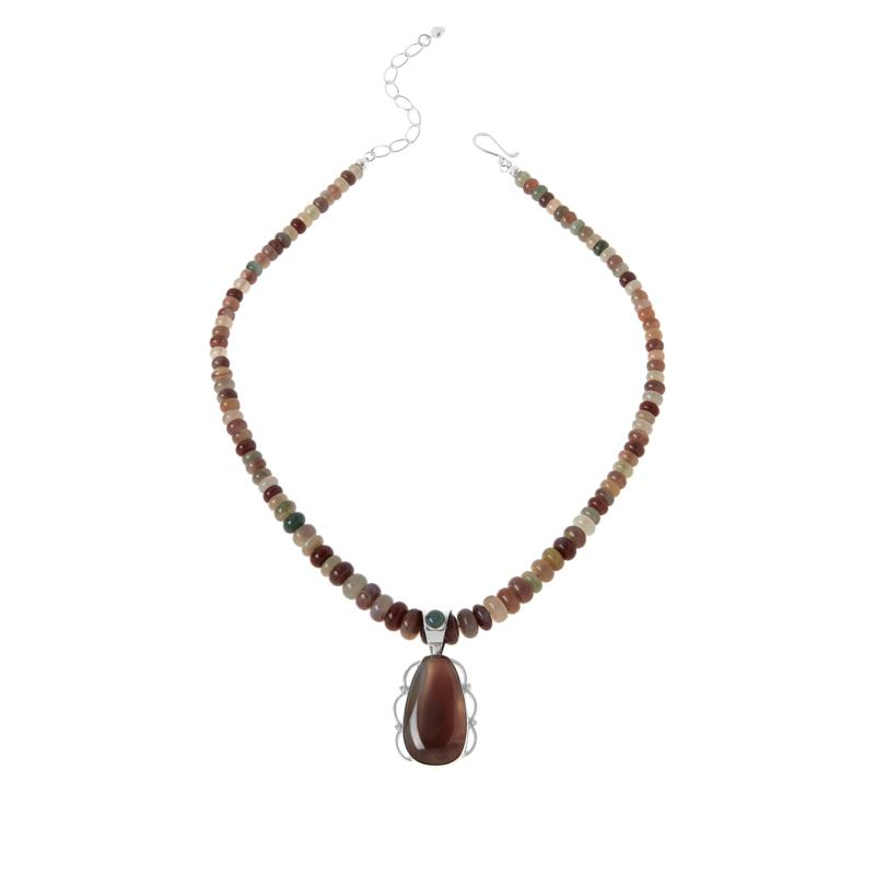 Jay King Sterling Silver Shaanxi Spice Agate Pendant with Necklace