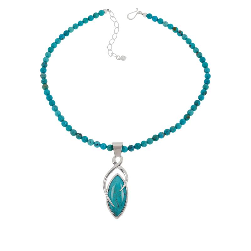Jay King Sterling Silver Turquoise Hill Pendant with Beaded Necklace