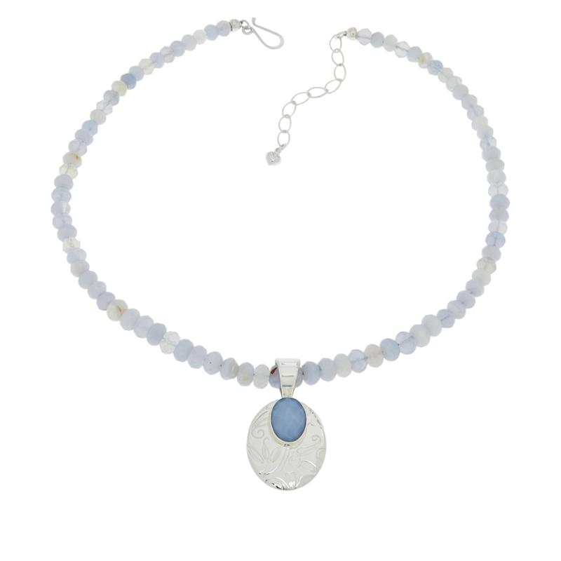 Jay King Sterling Silver Violet Chalcedony Pendant with Necklace