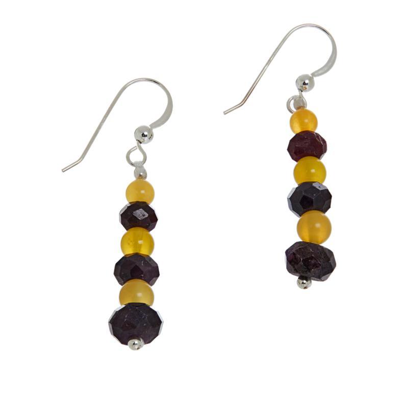 Jay King Sterling Silver Yellow Opal and Purple Sapphire Drop Earrings