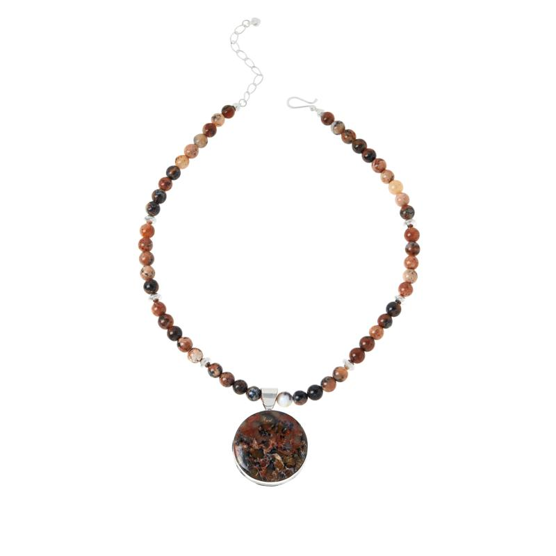 Jay King Wanong Dendritic Opal Reversible Pendant with Necklace
