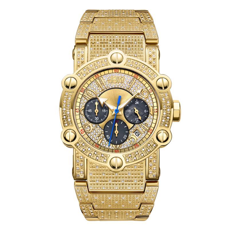 JBW Men's Phantom 18K Gold-Plated 1ctw Diamond Chronograph Watch