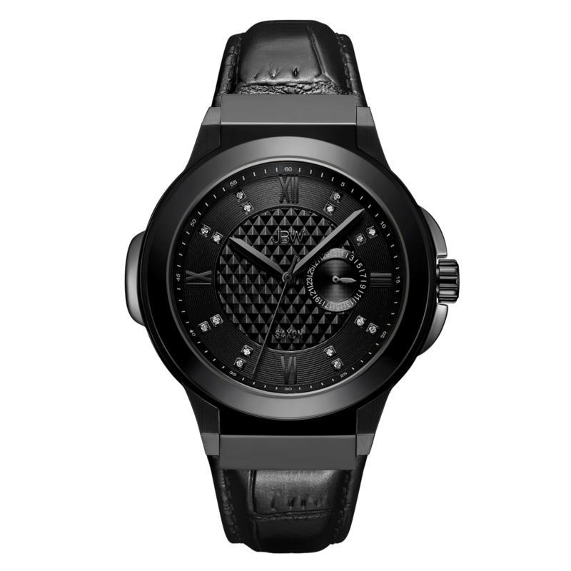 """JBW Men's """"Saxon"""" 16-Diamond Black Leather Watch"""