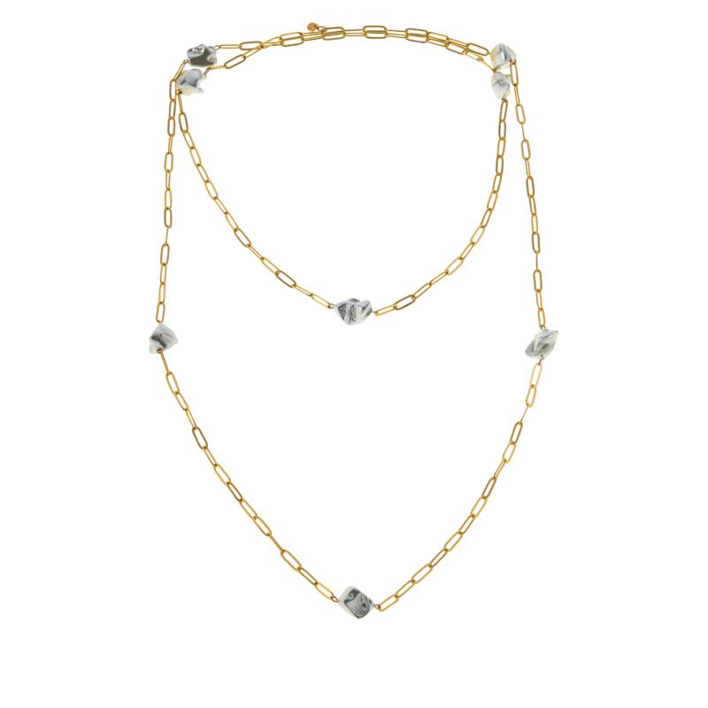 """JK NY 60"""" Simulated Pearl Paperclip Chain Station Necklace"""