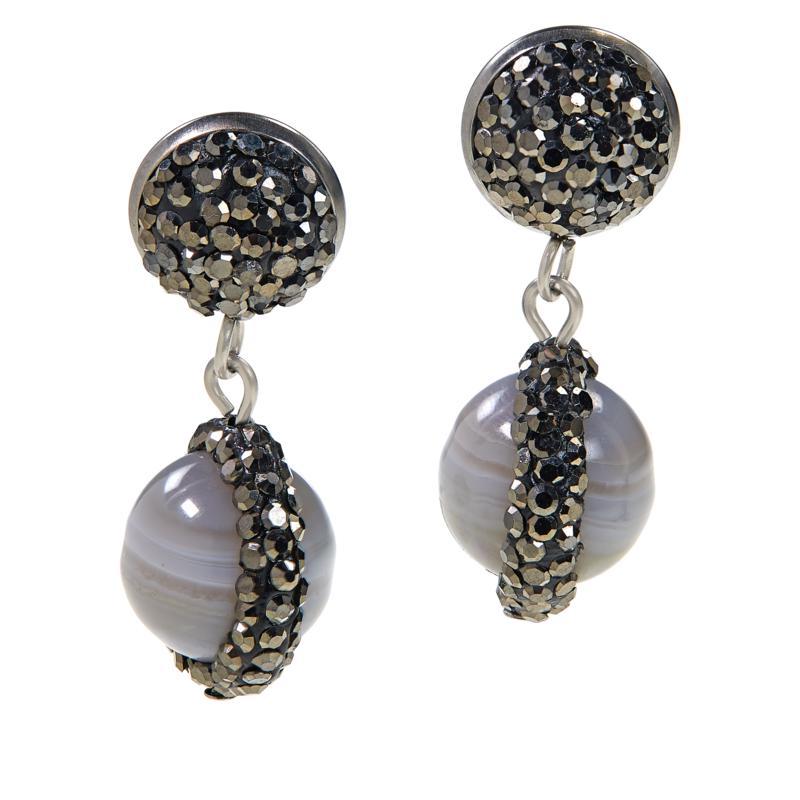 JK NY Agate Bead Drop Pavé Earrings