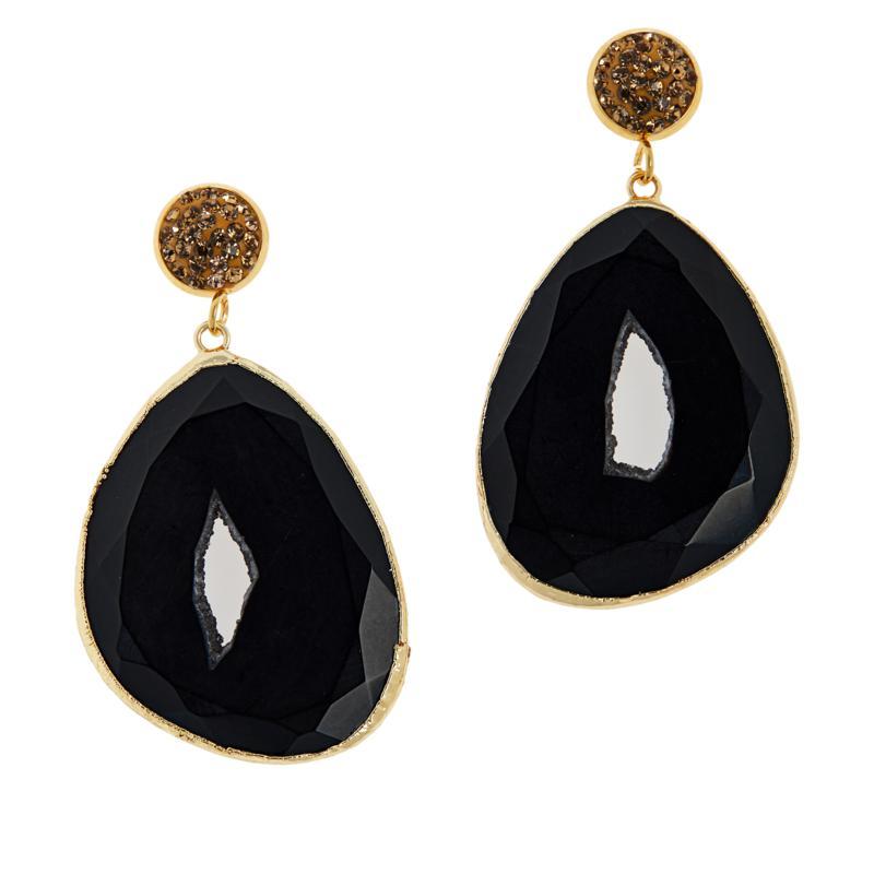 JK NY Agate Slice Pavé Accent Drop Earrings