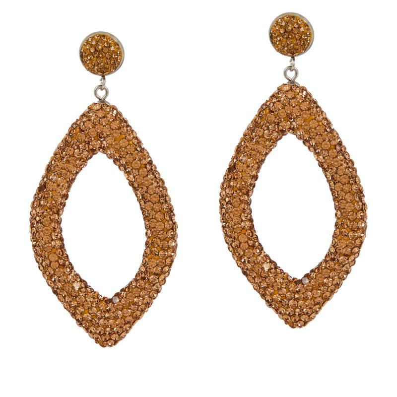 JK NY Pavé Stone Open Diamond-Shaped Drop Earrings
