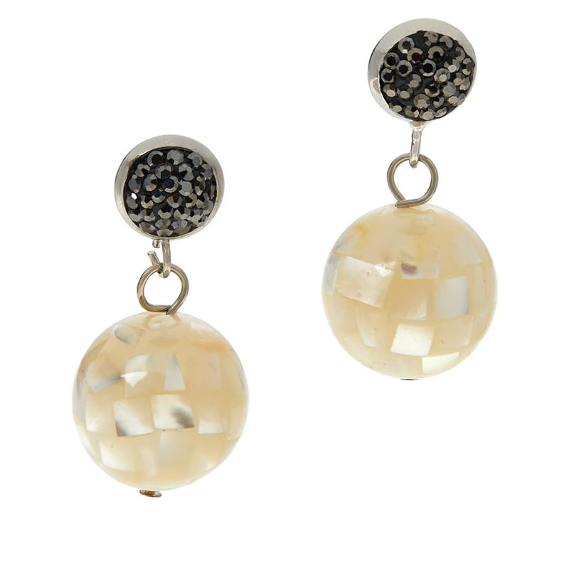JK NY Shell Doublet Ball Drop Earrings