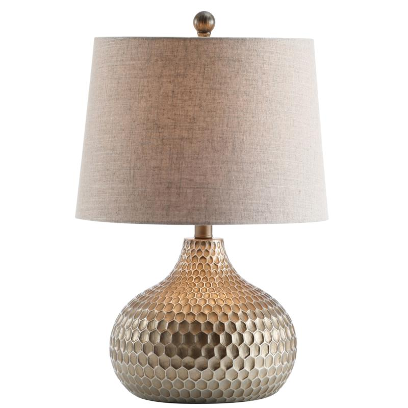 """JONATHAN Y Antique Brown Bates 22"""" Honeycomb LED Table Lamp"""