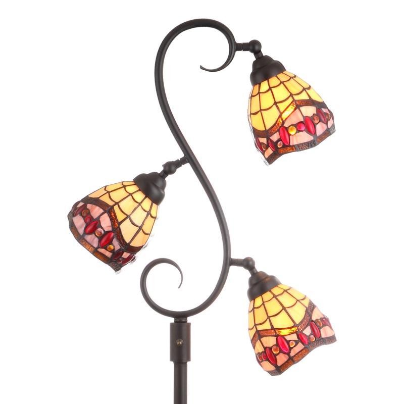 "JONATHAN Y Bronze Walker 70.5"" Tiffany-Style Multi-Light Floor Lamp"