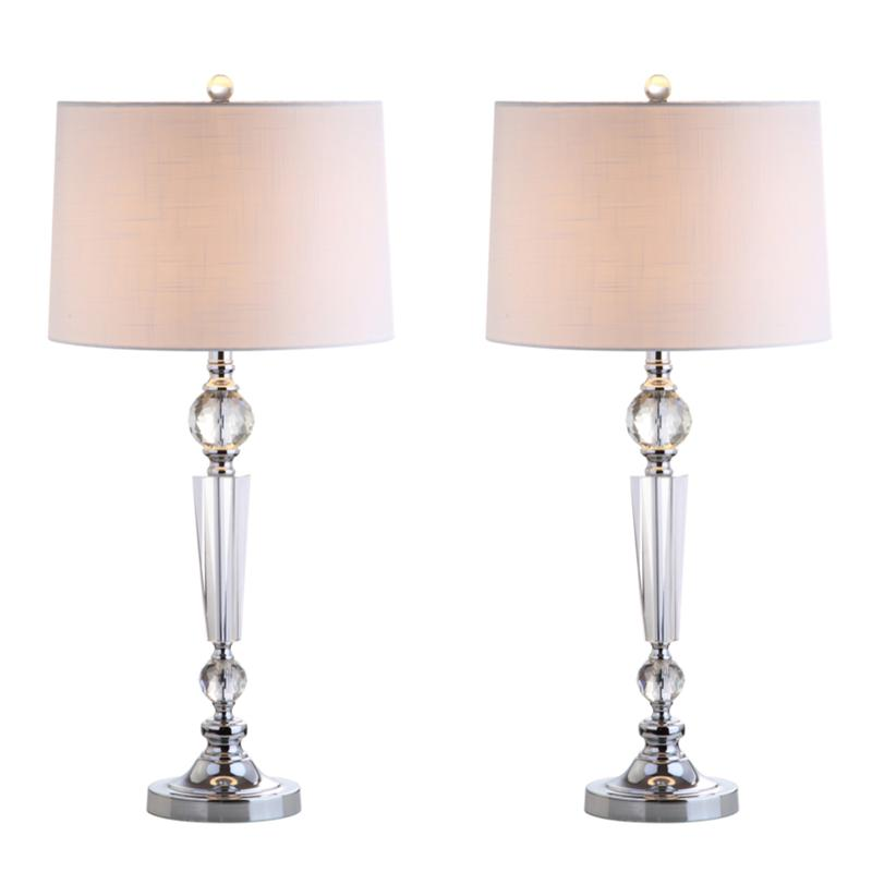 "JONATHAN Y Clear Emma 29.5"" Crystal LED Set of 2 Table Lamp"
