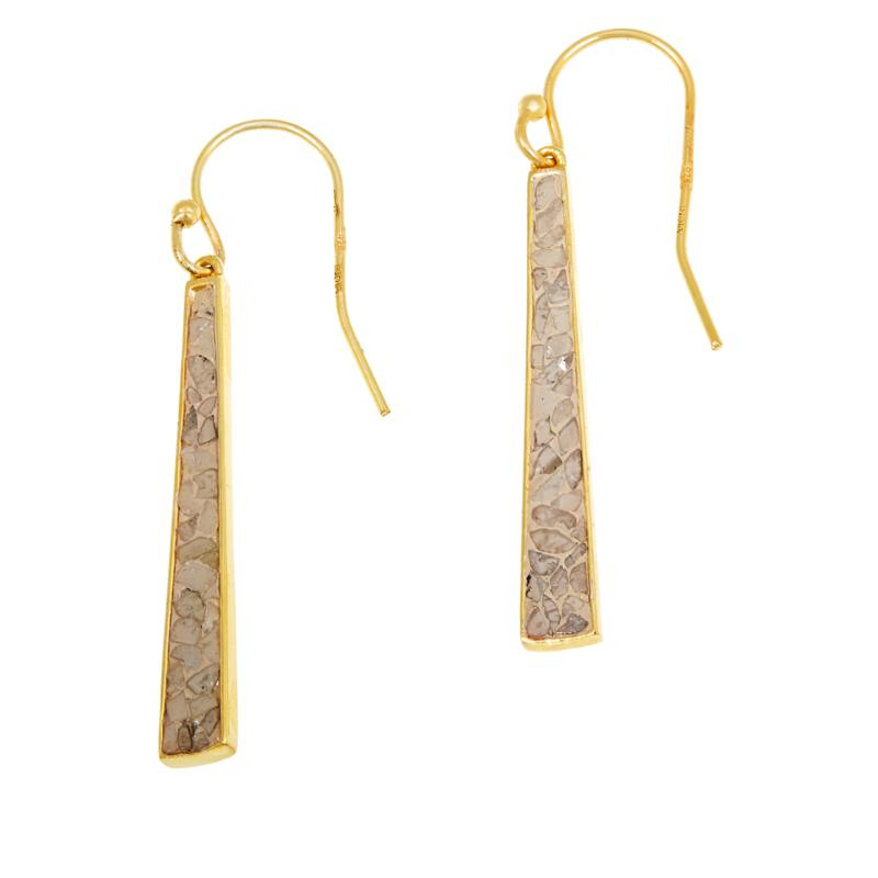 Joya Deco Crushed Diamond Shard Pyramid Drop Earrings