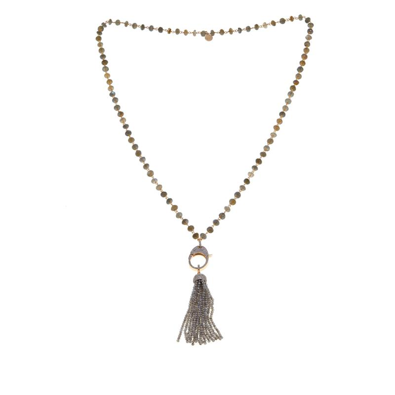 GSA Obsidian Necklace Beaded Necklace Gemstone Appeal bead Tassel Necklace Hand Knotted Necklace Labradorite Necklace Tassel Necklace