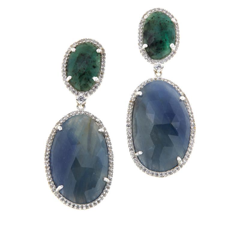 Joya Sterling Silver Sapphire and CZ Pavé Freeform Drop Earrings