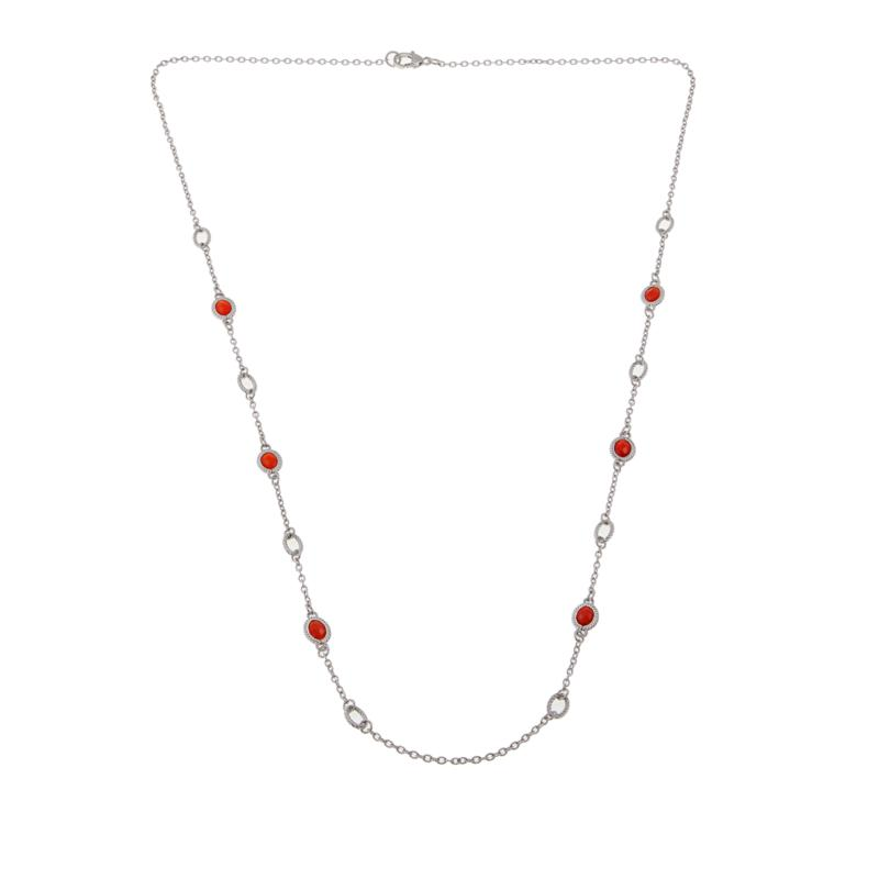 """Judith Ripka Verona Collection Gemstone and Oval Link 36"""" Necklace"""