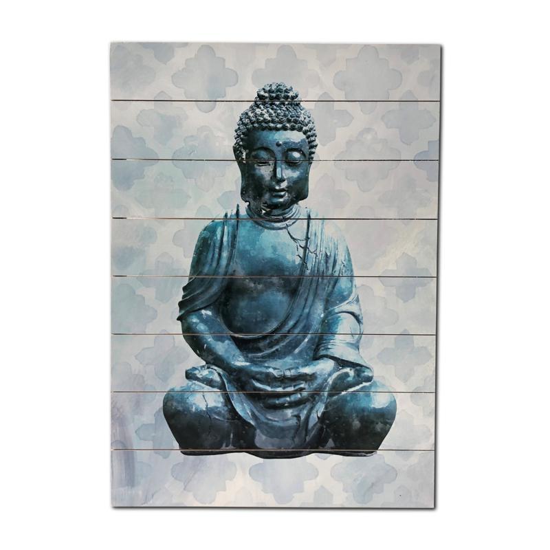"Kroll Creations Blue Buddha 18"" x 26"" Print on Planked Wood Art"