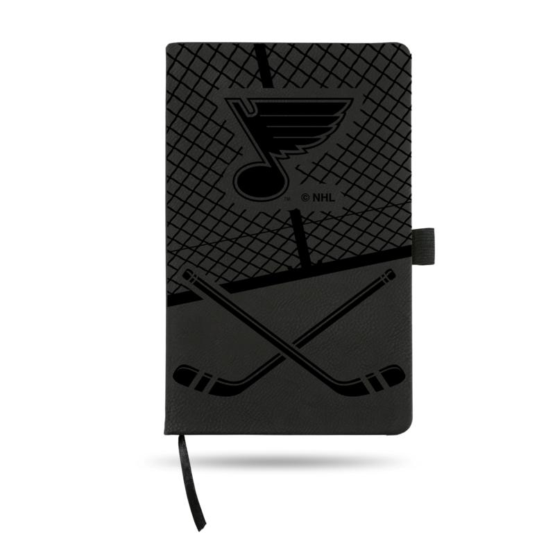 Laser-Engraved Black Notepad with Elastic Band - Blues