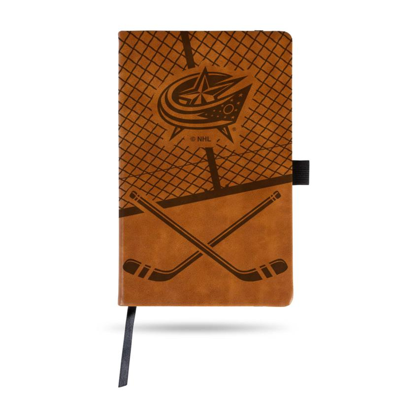 Laser-Engraved Brown Notepad with Elastic Band - Blue Jackets