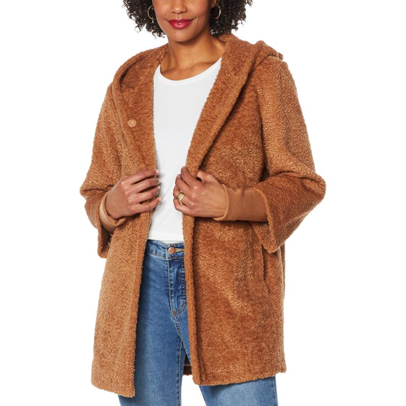 Laurier Hooded Faux Fur Coat with Storm Cuffs