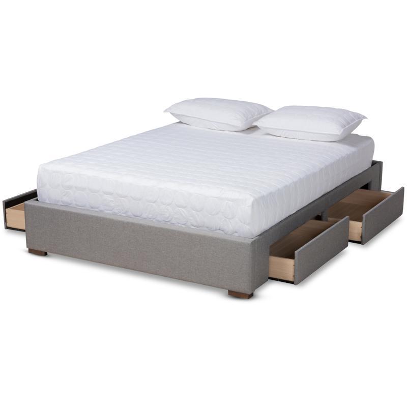 Leni Fabric Upholstered 4-Drawer King Size Platform Storage Bed Frame