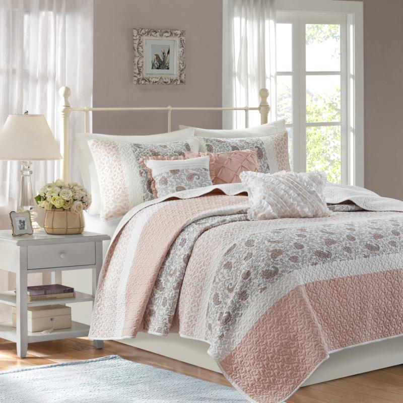 Madison Park Dawn 6-pc Percale Reversible Coverlet Set - Full/Queen