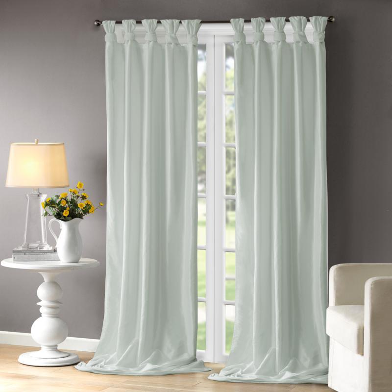 "Madison Park Emilia Curtain - Dusty Aqua - 50"" x 108"""