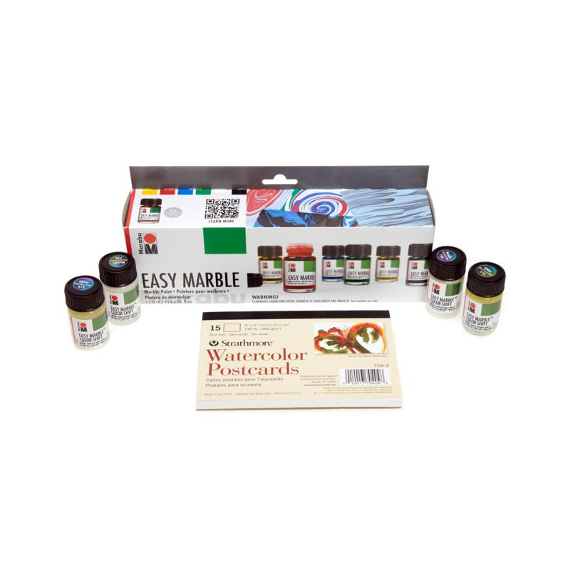 Marabu Easy Marble Value Set with Strathmore Watercolor Postcards