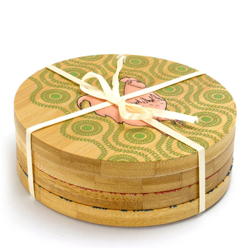 Market Square Bamboo Coaster with farm animals and decorative pattern