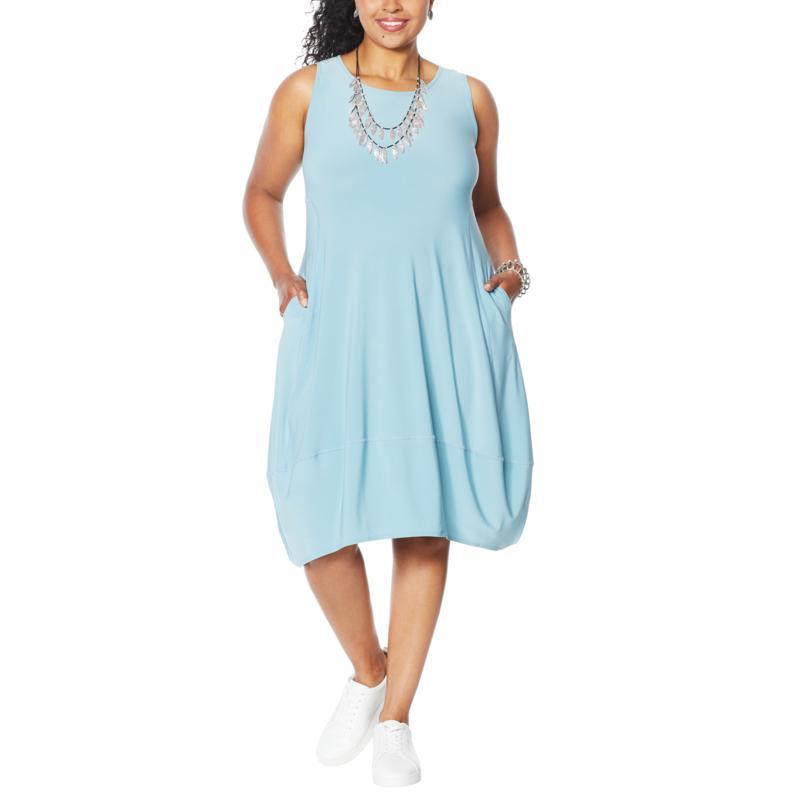 nWT MarlaWynne Womens Matte Jersey Sleeveless Dress with Pockets 694275