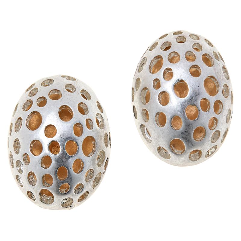 MarlaWynne Perforated Domed Oval Stud Earrings
