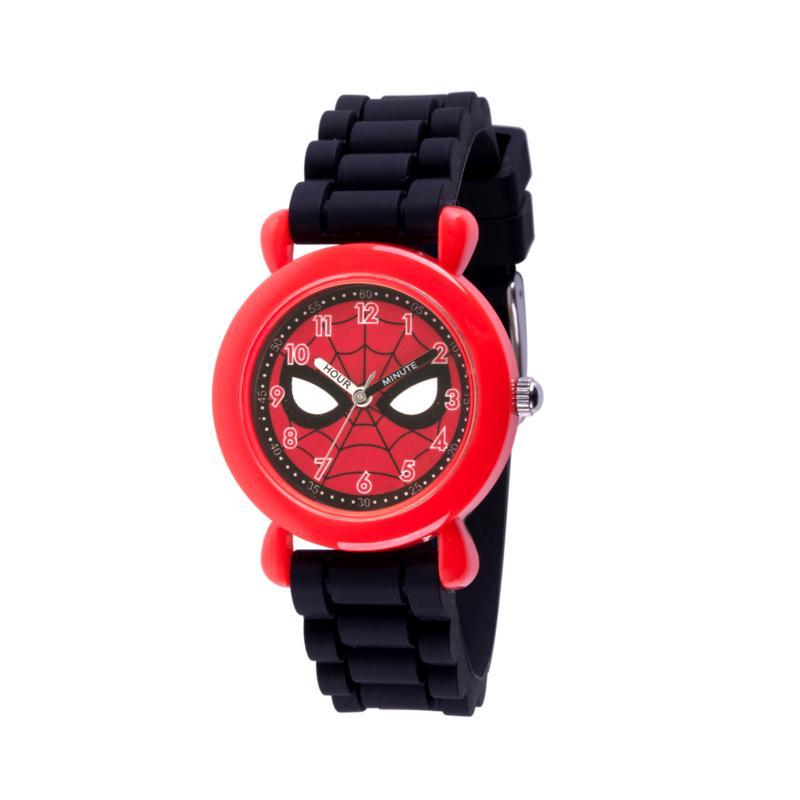 Marvel Spider Man Kids Red Plastic Time Teacher Watch with Black Strap