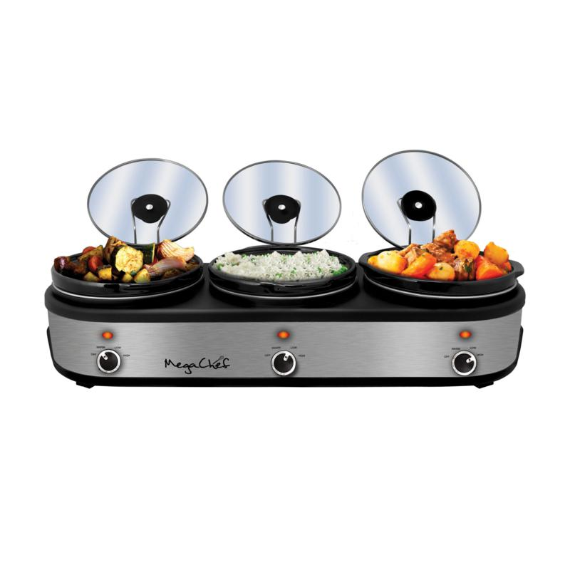 MegaChef Triple 2.5 Quart Slow Cooker and Buffet Server in Brushed ...