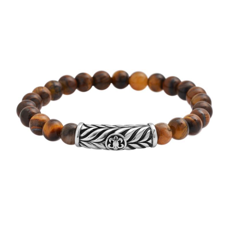 Men's Stainless Steel Gemstone Bead Stretch Bracelet