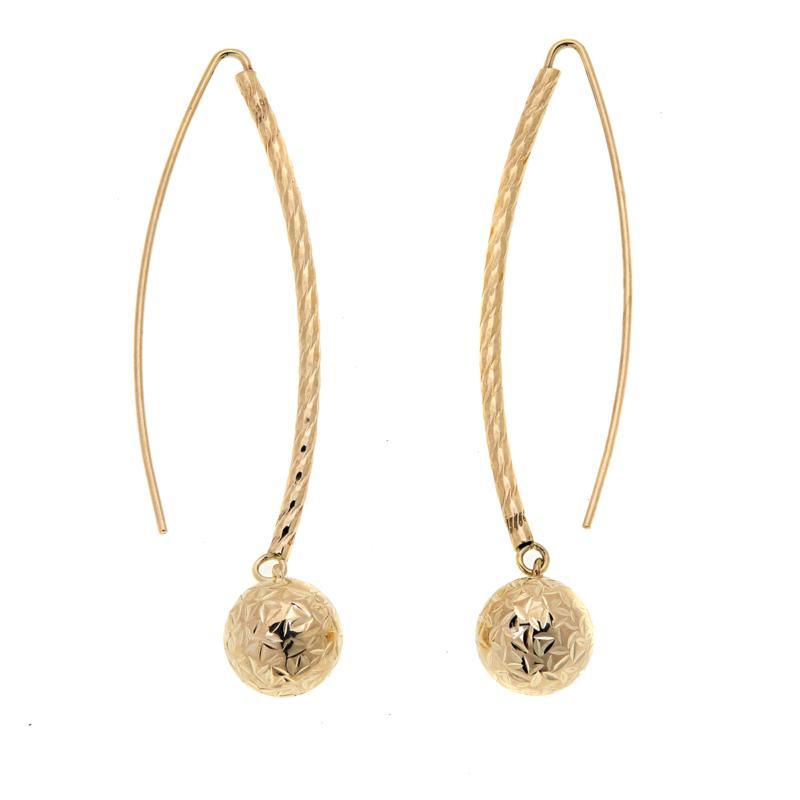 Michael Anthony Jewelry® 10K Diamond-Cut Bead Drop Earrings