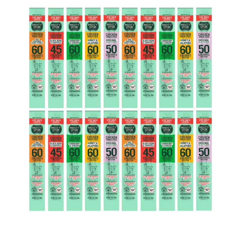Mighty Spark 20-count 1 oz. Chicken Snack Sticks Variety Pack