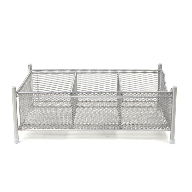 Mind Reader 3-Compartment Metal Mesh Storage Basket Organizer - Silver