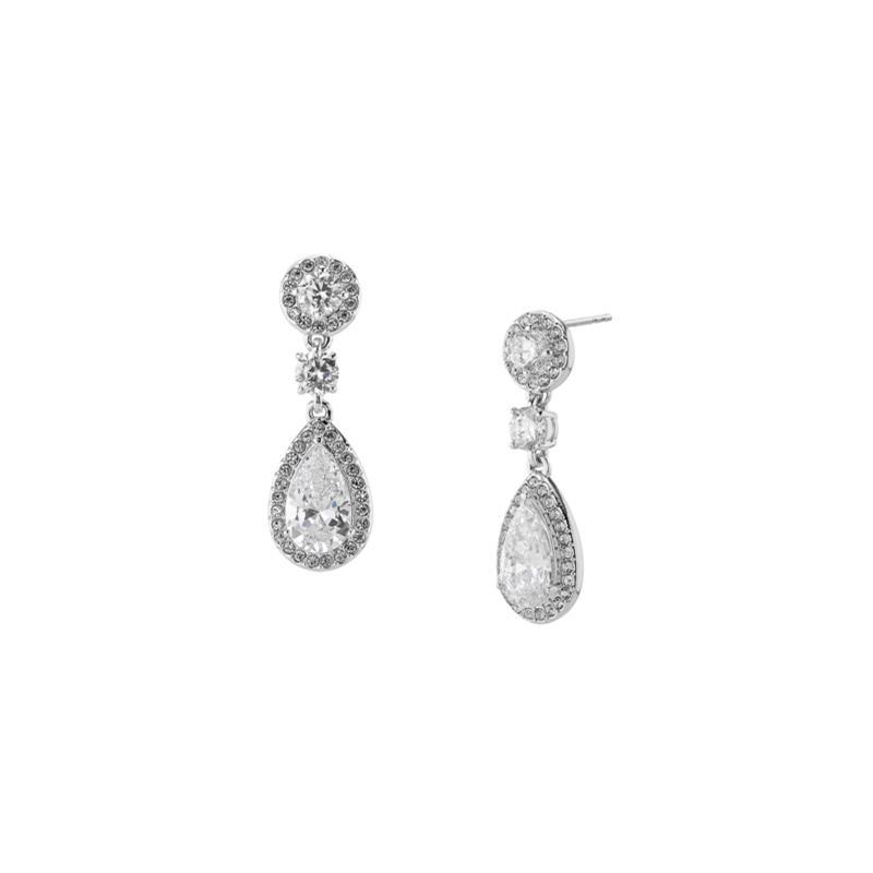 Nadri Silvertone Cubic Zirconia Frame Drop Earrings
