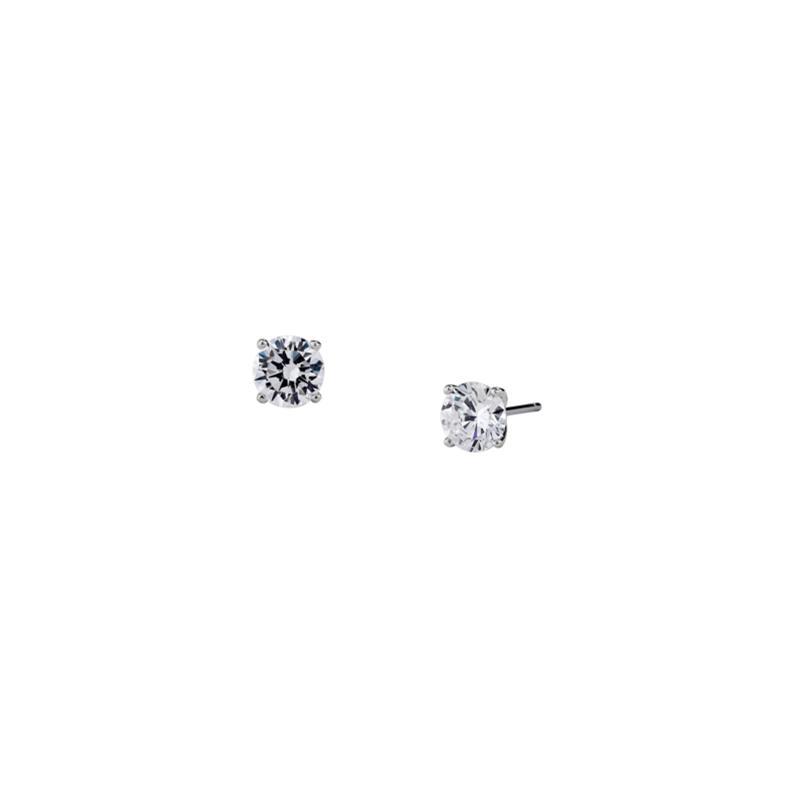 Nadri Silvertone Cubic Zirconia Frame Stud Earrings