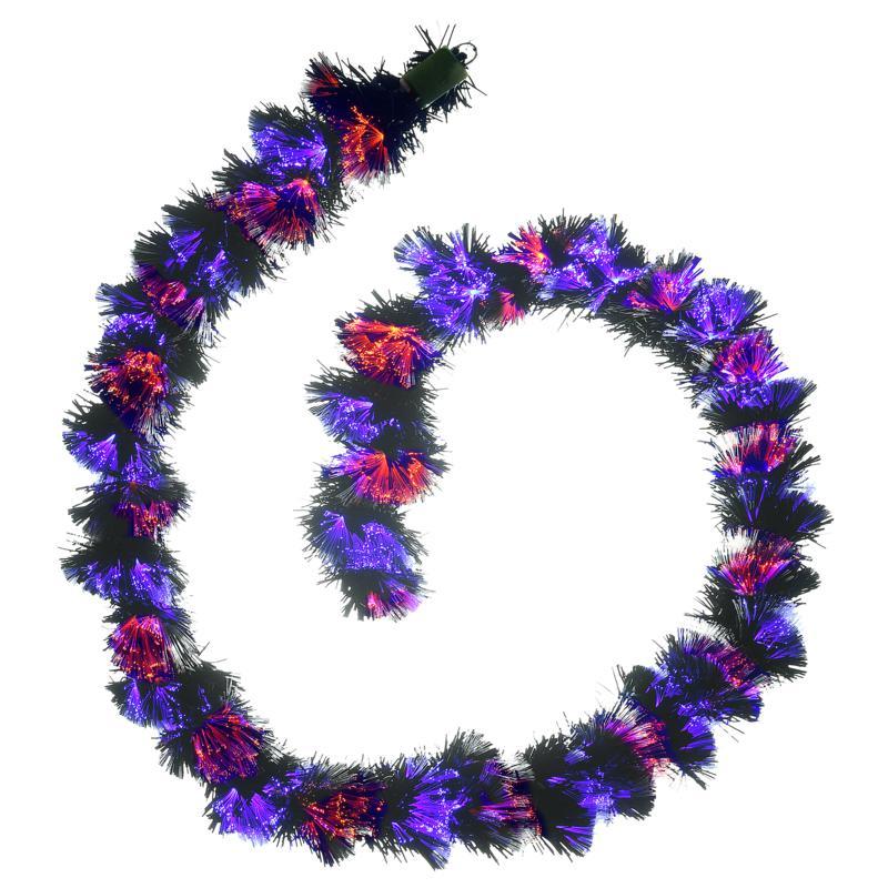 National Tree Company 9' Black Garland with Purple and Orange Lights