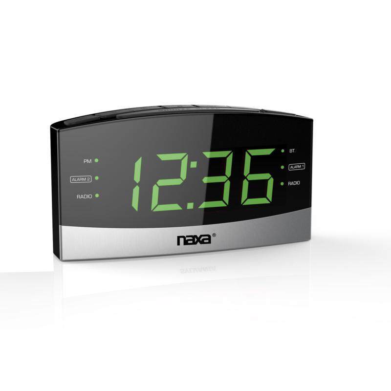 Naxa Bluetooth Easy Read Dual Alarm Clock with USB Charge Port