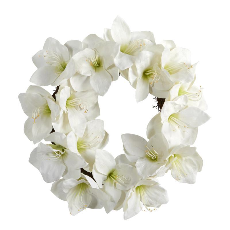 "Nearly Natural 18"" White Amaryllis Artificial Wreath"