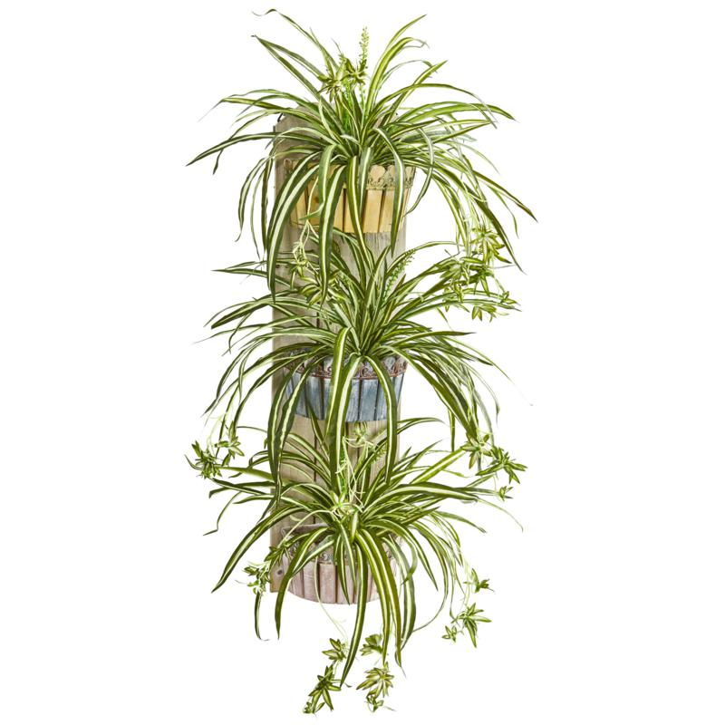 """Nearly Natural 39"""" Artificial Spider Plant 3-Tiered Wall Decor Planter"""