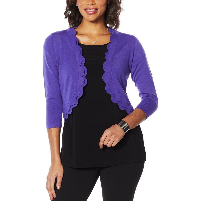Nina Leonard Double Scallop Sweater Knit Bolero
