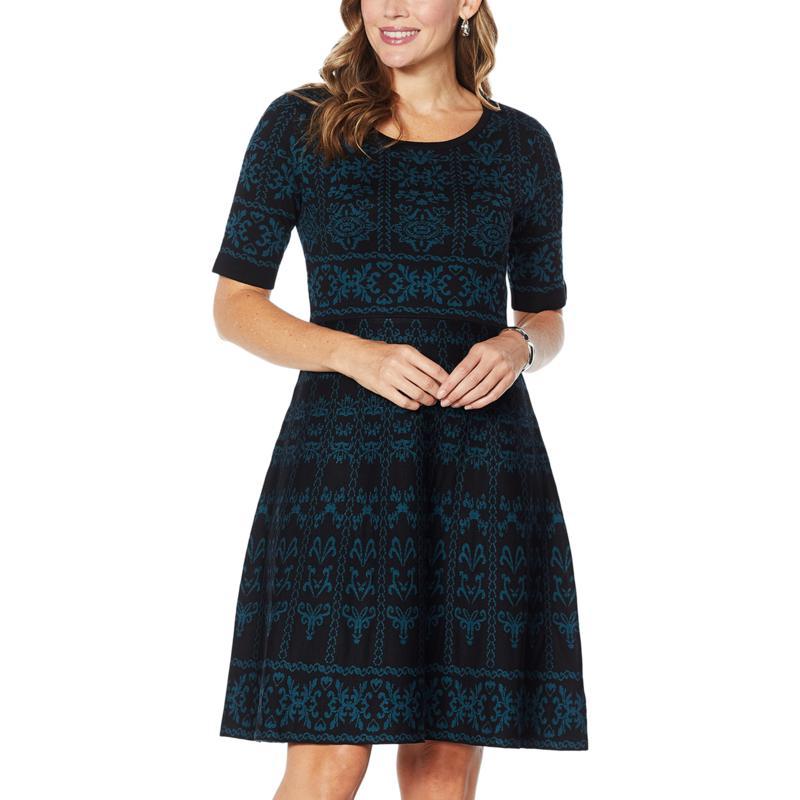 Nina Leonard Jacquard Fit and Flare Sweater Dress