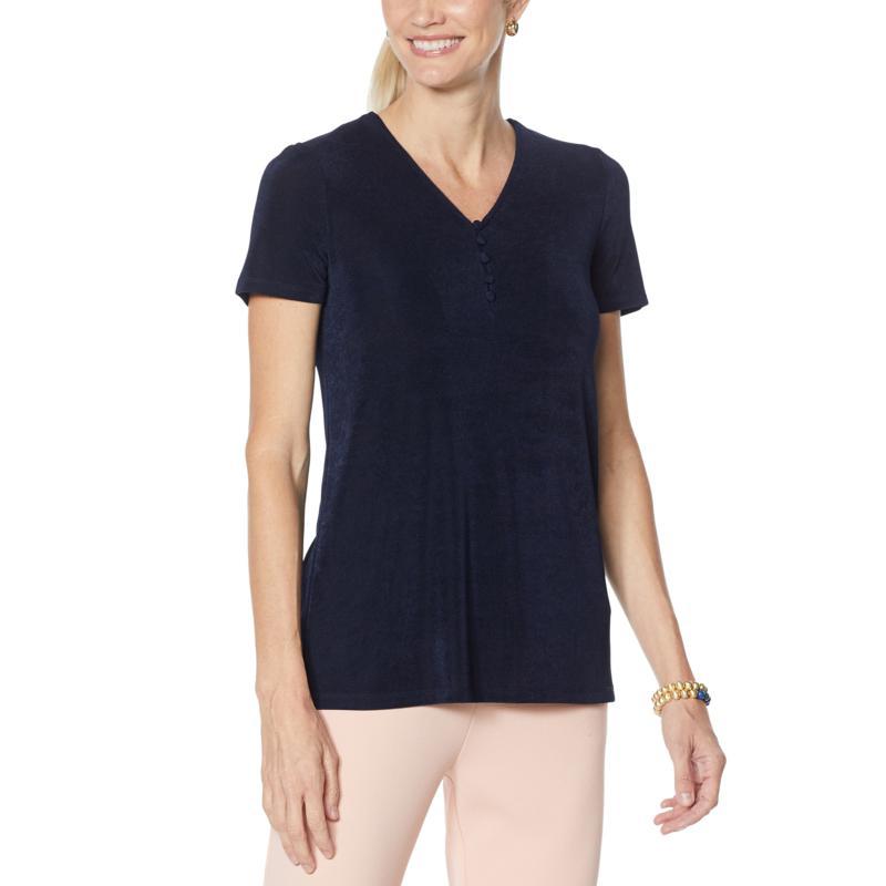 Nina Leonard Lux Knit V-Neck Top