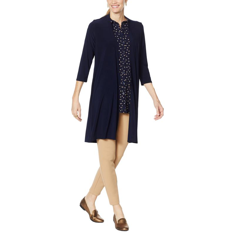 Nina Leonard Miracle Matte Jersey Lace-Up Duster Cardigan