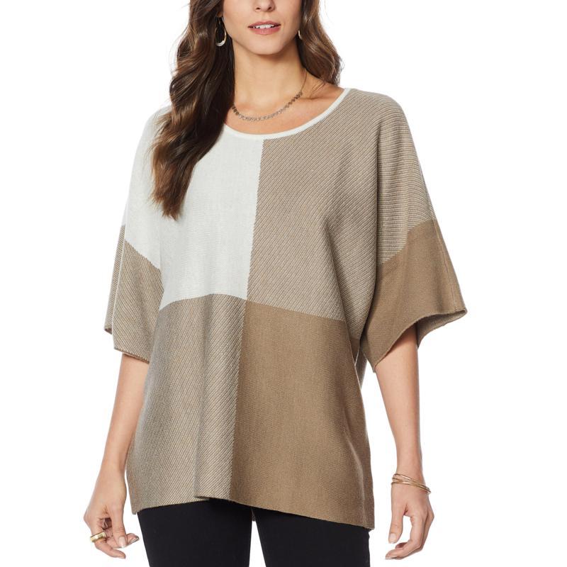 Nina Leonard Oversized Colorblock Sweater Top