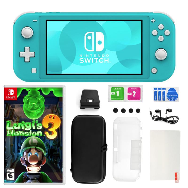 Nintendo Switch Lite in Turquoise with Luigi's Mansion 3 and Access...