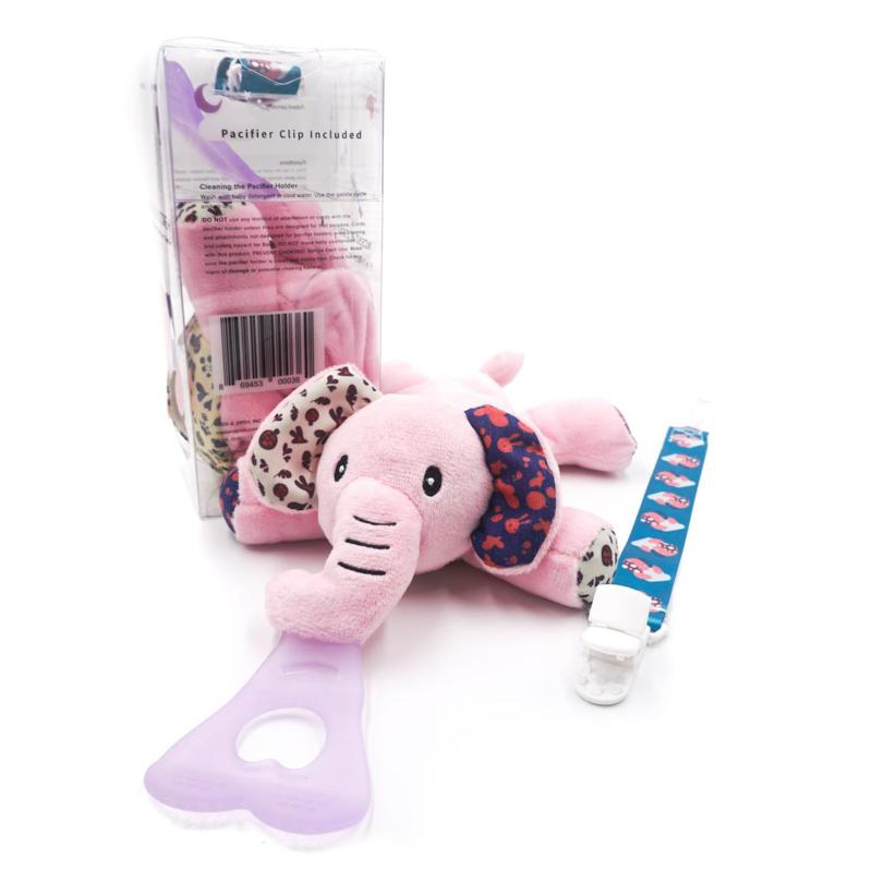 NISSI & JIREH 5in1 Universal Pacifier Holder, Teether w Clip- Elephant